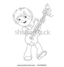 coloring outline cartoon boy stock vector 424589875