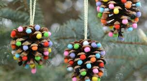 pinecone pom pom ornaments 100 days of