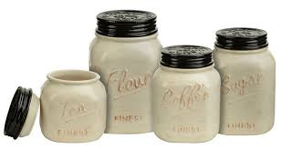 Canisters For Kitchen Counter by Mason Jar Canister Set 4 Pc Kitchen Counter Storage Ceramic Sugar