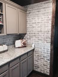 faux brick backsplash in kitchen beautiful gray brick backsplash white grey tile kitchen and veneer