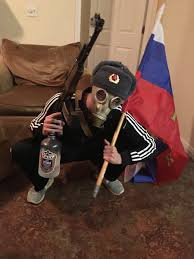 Flag With Ak 47 Let Me Wear An Ushanka And Gas Mask While Posing With An Ak 47