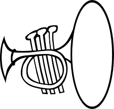 silly trumpet bw black white line art coloring sheet colouring
