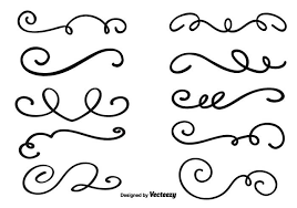 ornamental clipart swirly line pencil and in color ornamental