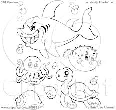 clipart outlined mean shark octopus puffer fish and sea turtle