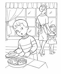 thanksgiving dinner coloring page sheets boy sneaking some pie