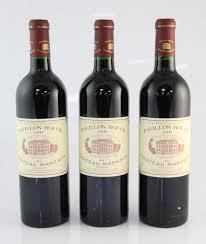 second wine three bottles of pavillon du chateau margaux 2000 margaux