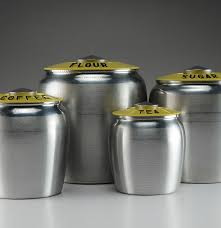 yellow spun aluminum kromex kitchen canister set ebth