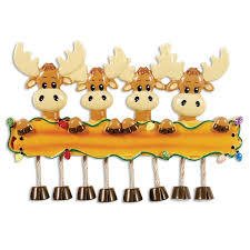 or1364 4 moose family of 4 personalized christmas ornament