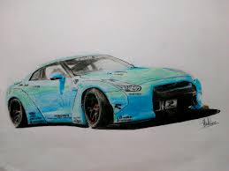 nissan gtr liberty walk blue my drawing of the nissan gt r r35 with a liberty walk body kit on