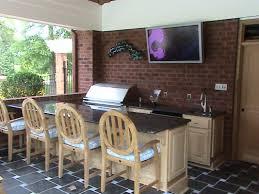 outdoor kitchen design and decoration using dark brown brick