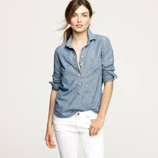 j crew selvedge chambray popover in blue lyst