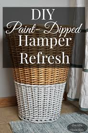 diy paint dipped hamper refresh