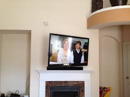 Wall Mount 32 Flat Screen Tv Samsung Sound Bar Installed Flush Against The Front Surface Of The