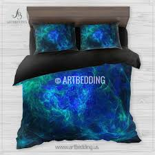 Galaxy Bed Set Galaxy Bedding Set Fractal Space Duvet Cover Set Space