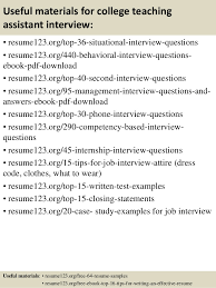 Teaching Assistant Resume Sample by Top 8 College Teaching Assistant Resume Samples