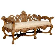 Antique Wood Benches Sale by Late 19th Century Richly Carved Italian Wooden Bench With