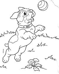 puppies coloring pages bulldog playing ball coloringstar