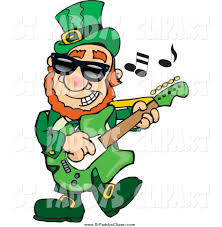 vector clip art of a st paddys day leprechaun playing rock and