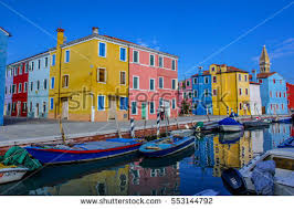 Burano Italy Venice Landmark Burano Island Canal Colorful Stock Photo 175442519