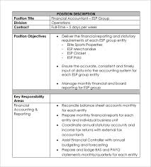 Tax Accountant Job Description Resume by Accountant Job Description Template 9 Free Word Pdf Format