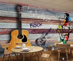 colorful wooden wall 3d guitar drawing with saxophone