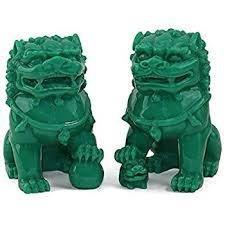 foo dog lion feng shui pair of 3 green fu foo dogs guardian lion