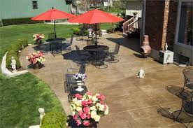 Stamped Concrete Backyard Ideas Backyard Stamped Concrete Patio Ideas With Wrought Iron Patio
