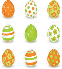 bright decorated easter eggs orange and green colors stock vector