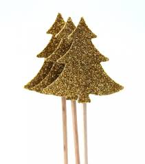 10 golden christmas tree toothpicks party picks cupcake topper