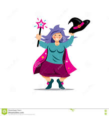 halloween witch background vector halloween witch with magic wand cartoon illustration stock