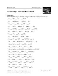 writing and balancing chemical reactions worksheet worksheets