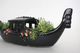 manchette cache pot mccoy en céramique gondole bonbons bateau