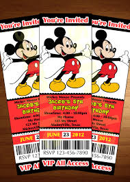Mickey Mouse Invitation Cards Printable Mickey Mouse Ticket Invitation Printable Diy Invite Red Party