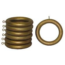 Large Drapery Rings Wood 2 Inch Historical Gold Curtain Rings Set Of 7 Free