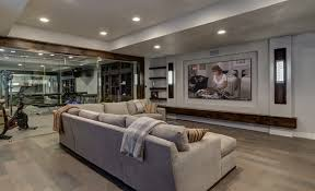 basement home theater and workout gym contemporary basement