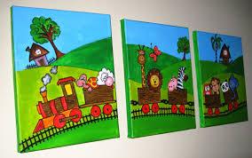 Set Of  Original Handmade Nursery Painting Animal Safari - Canvas paintings for kids rooms