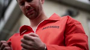 Prison Jumpsuit Male Prisoner White Waiting Outside Wearing Handcuffs And
