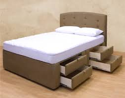 Bed Frames Storage Mocha Fabric Bed Frame With Headboard And Four Storage Drawers On