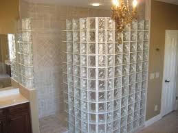 luxery doorless shower design with glass block for window