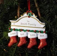 family of 4 christmas stockings personalised tree decoration