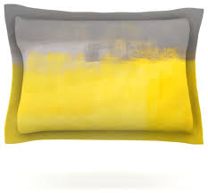 carollynn tice a simple abstract yellow gray pillow sham 30 x20