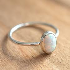 opal october sterling silver white opal ring simulated opal stacking ring