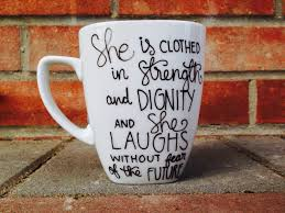 christian coffee mug hand painted mug proverbs 31 bible verse