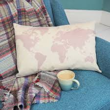 World Map Bedding Personalised Map Of The World Silhouette Cushion By And Bird