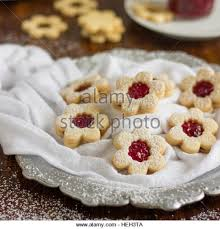 linzer cookies traditional austrian christmas stock photos