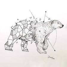 geometric to realism polar bear tattoo design