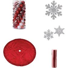 red and silver christmas tree decoration kit walmart com