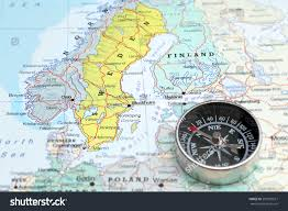Scandinavia Map Compass On Map Pointing Norway Sweden Stock Photo 207995671