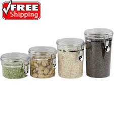 4 piece see through round canister storage set hard plastic jars