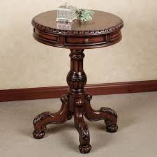 small round accent table fancy varnished teak wood small round accent table with carving legs